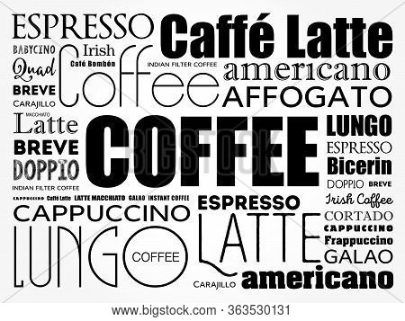 List Of Coffee Drinks Words Cloud Collage, Poster Background