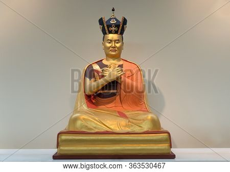 Gilded Statue Of 16th Karmapa, Kagyu Line Holder. The Black Crown Is An Important Symbol Of The Karm
