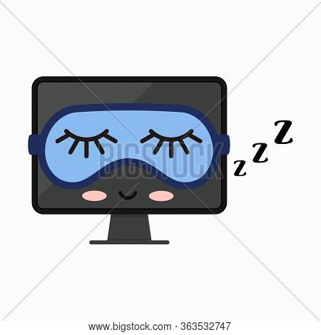 Sleeping Off Computer Monitor Vector Icon Isolated On White. Asleep Black Computer Screen With Blue
