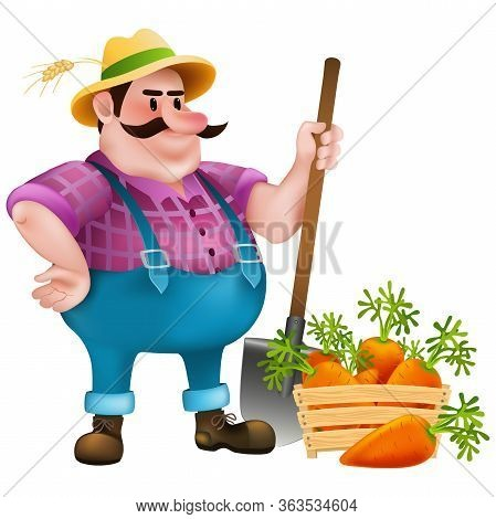 Cartoon Fat Farmer With A Shovel And  Wooden Box Full Of Fresh Carrots On White Background