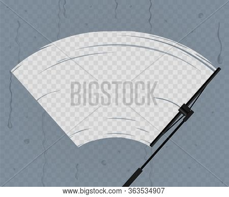 Black Wiper Cleans The Glass In Rain On A Transparent Background Equipment Windshield Automobile. Ve