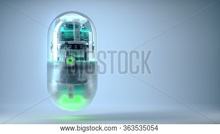 The Concept Future Medicine And Bioengineering Capsule With Nano Tech Inside, Medical Symbol Of Nano