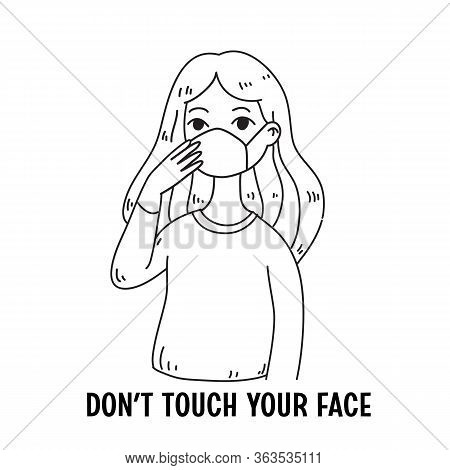 Coronavirus Prevention, Hand Drawn Style Cute Woman Vector Illustrations.