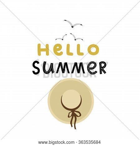 Hello Summer Lettering Hand Drawing Calligraphy, Beach Hat And Birds, Vector
