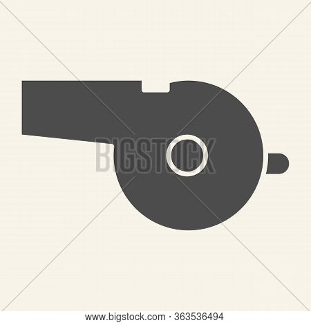Whistle Solid Icon. Sports Whistle Glyph Style Pictogram On Beige Background. Blowing For Mobile Con
