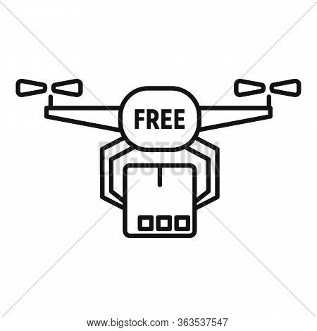 Drone Free Shipping Icon. Outline Drone Free Shipping Vector Icon For Web Design Isolated On White B