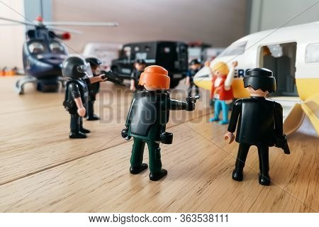 Madrid, Spain - July 13, 2019: Playmobil Figurines In Scene Representing Police Forces Surrounding A
