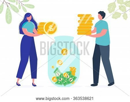 Girl Man Are Holding Coins. Savings Investing Money. Finance, Investment. Jar, Piggy Bank With Money