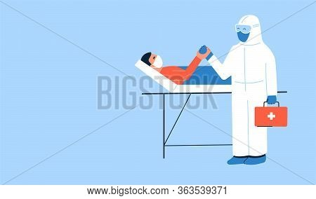 Vector Illustration. Caring Doctor In White Protective Suit And Patient Holding Hands. Man Lying In