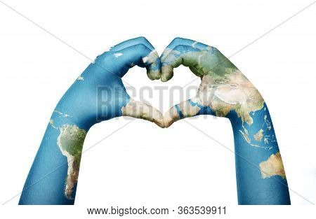 Close Up Of Child Hands, Painted In The World Map, Formig Heart Shape Isolated On White Background