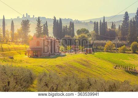 San Gimignano, Tuscany, Italy - October 25: Tuscany Sunset Panoramic Landscape With Cypress Trees, H