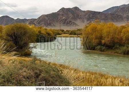 Chu River, Border Between The Issyk-kul Region And The Naryn Region In Kyrgyzstan