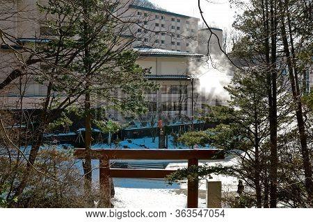 Noboribetsu, Hokkaido, Japan - December 2019 : Cultural Architecture Sculpture Of Japanese Stone Lio