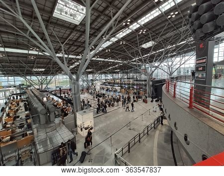 Stuttgart, Germany - September 22, 2019: Terminal At Stuttgart Airport, Germany With Counters At Che
