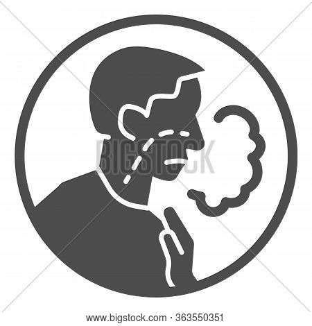 Shortness Of Breath Solid Icon. Difficulty Breathing, Dyspnea And Covid-19 Glyph Style Pictogram On