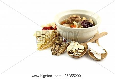 Many Chinese Herbal Medicine On White Background For Healthy Soup