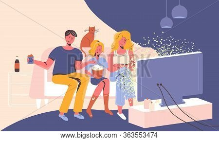 Family At Home On A Sofa Watching News On Tv Feeling Shocked, Stressed And Confused By Manipulative