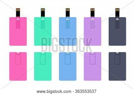 Set Of Colorful Wafer Usb Flash Cards, Back View Closed And Front View Opened. Empty Template For Co