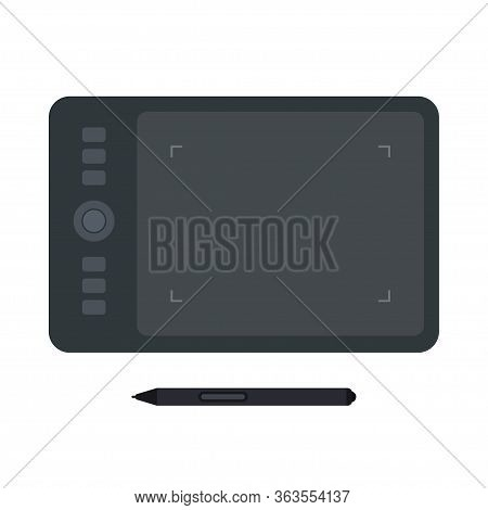 Digitizer Graphic Tablet With Stylus Top View Flat Icon. Vector Illustration Isolated On White Backg