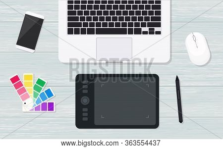 Top View Designer Workplace With Graphic Tablet, Laptop, Color Guide And Smartphone. Flat Lay Vector