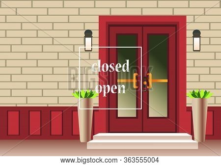 Apartment Building With Door, Front With Doorstep And Steps Porch, Window, Flower Pot, Lamp. Exterio