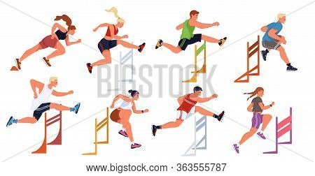Hurdle Race, Female, Male Sportive Jumping Competition. Athletes, Men, Women Taking Part In Steeplec