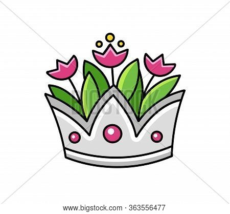 Silver Crown With Tulips. Vase. Cartoon Vector Illustration