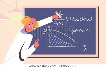 Wicked Scientist Manipulating With Data And Formulas On Chalk Board. Bald Headed Man In Sweater Draw