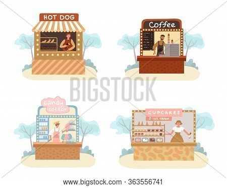 Stall Street Food, Drink, Confectionary Market Set. Hotdog, Coffee, Candy Cotton, Cupcake Funfair Tr