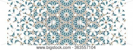 Arabesque Mosaic Decor Vector Pattern. Geometric Halftone Pattern With Color Arabesque Disintegratio