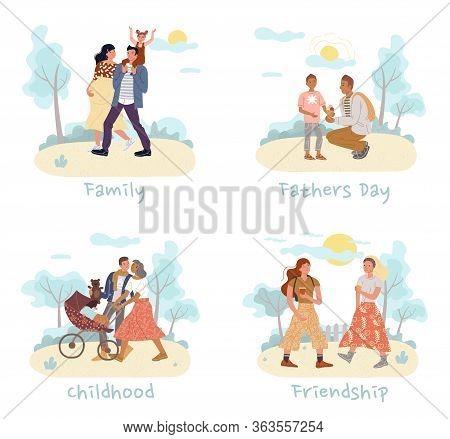 Teenager Boy Girl Friends, Pregnant Woman Man Carrying Daughter On Shoulder, Loving Wife Husband Str
