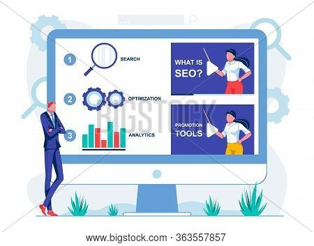 Online Lessons Searching, Optimization, Analytics. Man In Business Suit Stands Near Large Glass. He