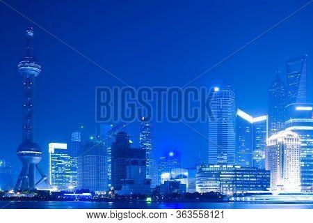 Skyline Of Lujiazui And Pudong Across The Huangpu River, Shanghai, China