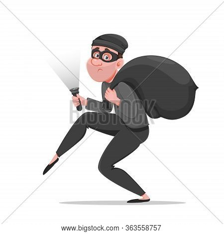 Cartoon Thief Walking Carefully, Bandit Carries Sack With Money. Funny Burglar. Vector Illustration