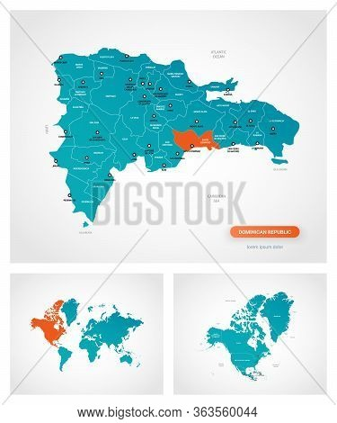 Editable Template Of Map Of Dominican Republic With Marks. Dominican Republic  On World Map And On N