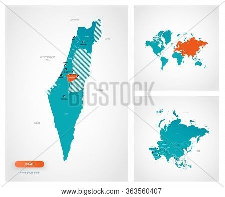 Editable Template Of Map Of Israel With Marks. Israel  On World Map And On Asia Map.