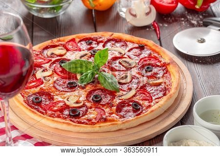 Hot Homemade Pepperoni Pizza. Macro Photo. Close Up.