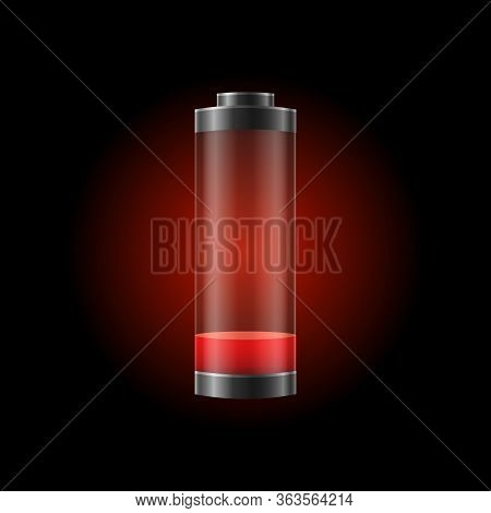 Realistic Detailed 3d Battery Charge Indicator Empty Concept. Vector Illustration