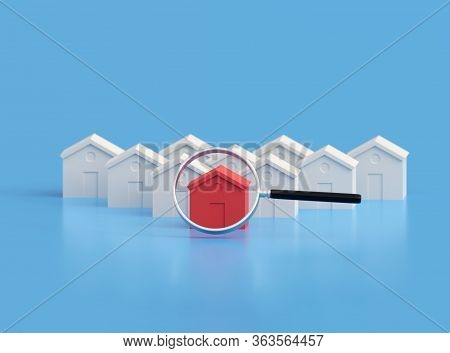 Hot Property Amongst Others, Red House Amongst The White. Many Houses One Is Red. 3d Illustration