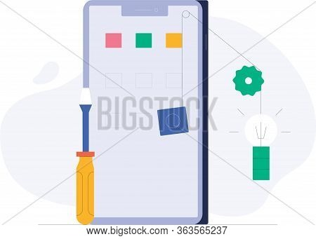 Flat Design Concept For Smartphon Sevices Vector Illustration