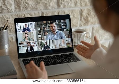 Businesspeople Have Online Webcam Conference Discussing Ideas