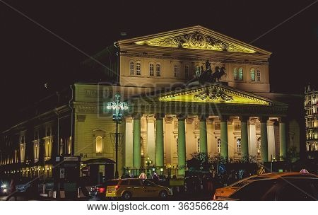 Night View Of The State Academic Bolshoi Theatre Opera And Ballet, Moscow, Russia Nov 22, 2017