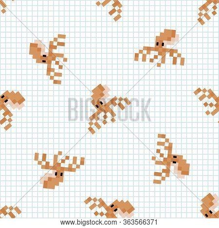 Cute Cartoon 8bit Octopus Seamless Vector Pattern. Ocean Wildlife Animal. Cephalopod Pixel Art All O