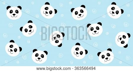Cute Panda Seamless Pattern. Vector Blue Background With Kawaii White Panda Face. For Childrens Wall