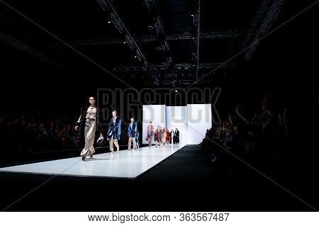 Moscow, Russia - March 21, 2019: Model Walk Runway For Duetfur Crimean Fur Factory Catwalk At Autumn