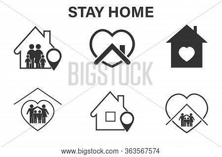 Set Of Stay Home Icons, These Icons Are Prepared For Coronavirus (cavid-19) Wonderful Icons Show The