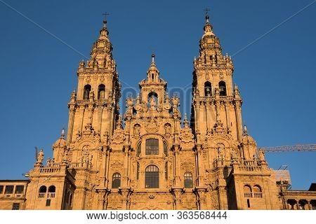Santiago De Compostela Cathedral, Galicia, Spain. Obradeiro Square In Santiago De Compostela The End