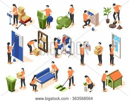 Spring Renovation Isometric Icons Set Of  People Taking Out  Trash Repainting Furniture Bonding Wall