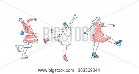 Figure Skaters. Woman Characters Isolated On White Background. Group Of Athletes In Doodle Style. Ve