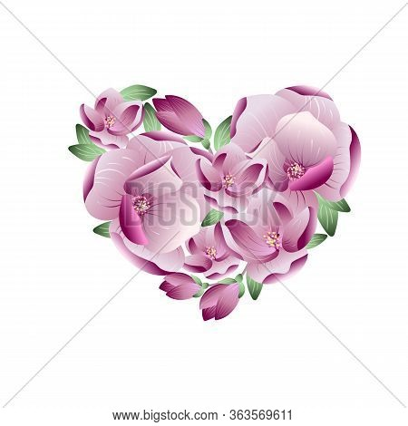 Vector Realistic Spring Background With Gentle Heart Love From Magnolia Flowers And Petals. Valentin